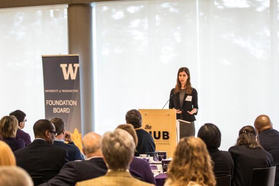 LSJ Major Clara Manahan addresses the UW Foundation Board