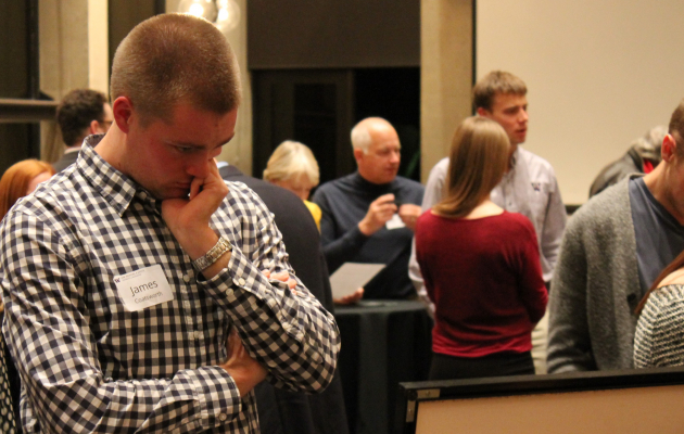 LSJ Student reflecting at the alumni mixer held to honor Timothy Wettack