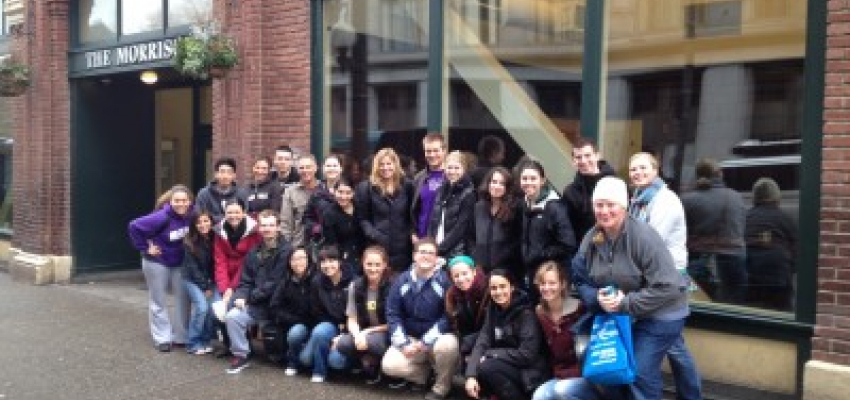 The LSJ volunteers outside the historic Morrison building in downtown Seattle.