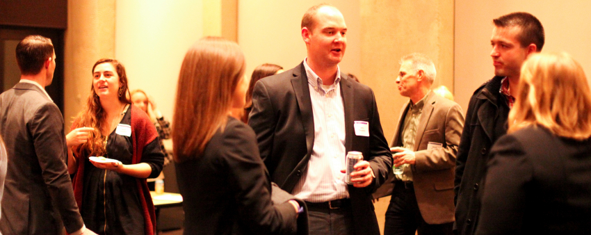 LSJ alumni and current students mingling at the program launch