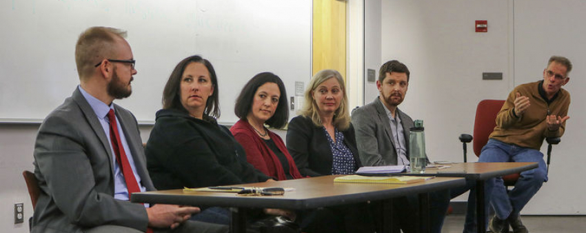 "LSJ Director Steve Herbert engages in discussion with a panel of attorneys, public defenders, and documentary filmmakers about the Netflix series ""Making a Murderer"". The group had a conversation about the criminal process in the United States."