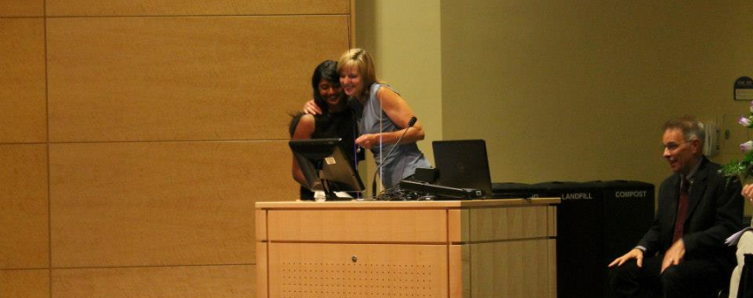 Graduate Varsha Govindaraju Receiving the Karin Stromberg Award from Dr. Katherine Beckett
