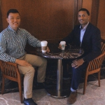 Rob Saka (right), LSJ '09 and privacy attorney at Perkins Coie, LLP, meets with mentee Matt Huang (left), who will graduate next spring.