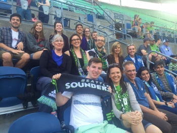 Sounders night in May 2016 with current LSJ majors, alumni, faculty, and staff. Scarves up!