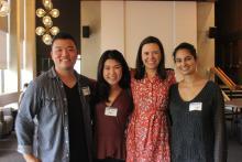LSJ Alumni Matt Huang, Kyung Sun Park, and Manreet Singh pose for a photo with Alyssa Penner