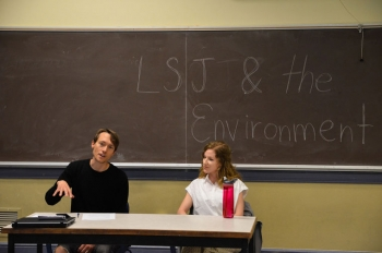 Brandon Derman (left) and Trace Chaplin (right) discuss topics such as agriculture, sustainable living, and climate change