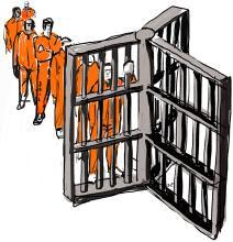 Cartoon illustration of men in a prison setting