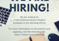 LSJ ad for communications student assistant role with typewriter background
