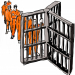 Cartoon illustration of men in a prison setting